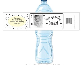 50th Birthday, Photo Sticker, Black balloons, over the hill, 40th birthday, Water bottle labels, Self Adhesive Labels (Set of 24) (Y106)