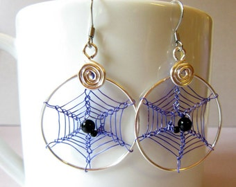 Spider Web Earrings, Cobweb Earrings, Spiderweb Earrings, Purple Web Earrings, Spider Jewelry, Halloween Hoops, Wire Weave Spider Web Hoops