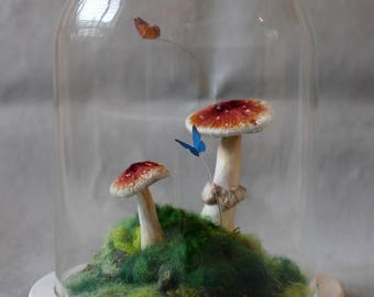 A Walk in the Woods - 3D Hand Embroidered Bell Jar