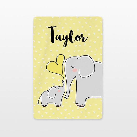 Elephant Personalized Baby Blanket Name Custom Gender Neutral Baby Boy Baby Girl Minky Fleece New Baby Gift Idea Cute Animal Gray Yellow