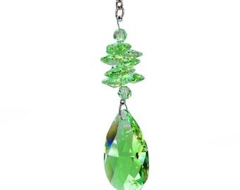 Peridot Crystal Ornament - 50mm Swarovski Crystal- Crystal Sun Catcher - Rainbow Maker - Party Decor - Housewarming Gift - Car Crystal
