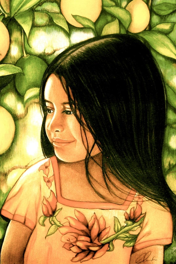art print of a child in a lemon field spring time