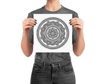 Black & White Hand-drawn Mandala Art Print | 'The Universe Inside You' mandala print, henna-inspired artwork, black mandala print, meditatio