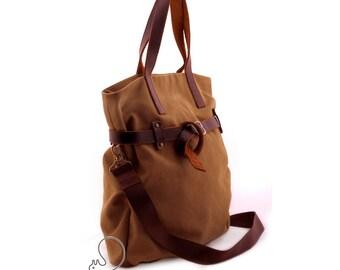 Women's canvas leather bag, messenger bag, crossbody bag, large women bag, convertible canvas bag, leather belt, convertible womens bag