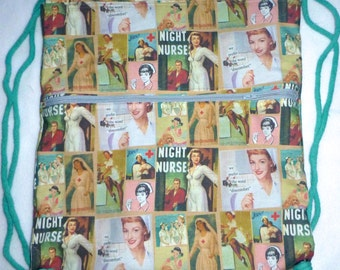Night Nurse Vintage Graphics Backpack/tote Custom Print made to order