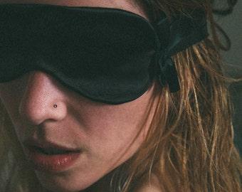 Rumination Sleep Mask in Black / Silk Sleepwear, Satin Intimates, Silk Charmeuse Lingerie, Retro Feminine Lingerie, Eyemask, Blindfold