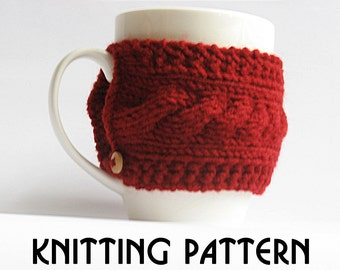 Cozy knit pattern,  pdf knit pattern,  coffee cozy pattern,  cup cozy pattern, knit pattern, knit pdf pattern,  digital knit pattern