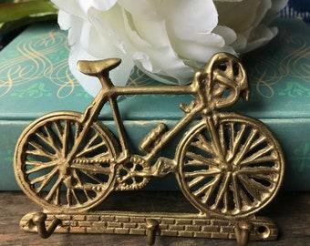 Vintage Brass Bicycle Key Hook, Key Holder