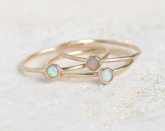 gold opal ring. birthstone ring. mothers ring. ONE dainty stackable ring. 14k gold filled. engagement ring. stacking ring. mothers day gift.
