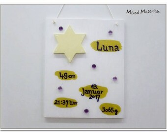 Tableau de naissance plaque naissance de «Star» naissance annonce