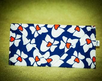 Flower Envelope Clutch - Blue and Orange