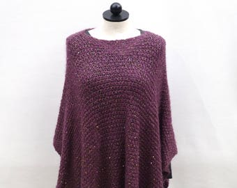 Purple Poncho with Sequins