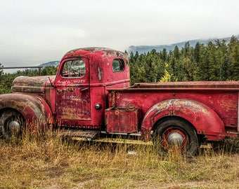 Old Red Truck - Red Truck - Old Truck -
