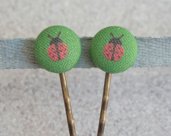 Ladybug Fabric Covered Button Bobby Pin Pair