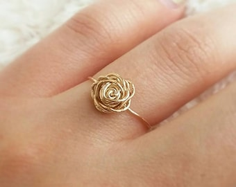 Gold rose ring, gold filled ring, wire rose ring, wire jewelry, delicate ring, dainty ring, dainty band, handmade jewelry, friendship ring