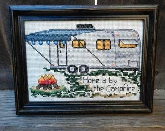 """PDF PATTERN - Camping Counted Cross Stitch - """"Home is by the Campfire"""""""