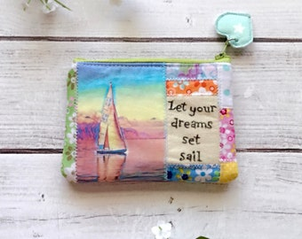 Sailboat, coastal zipper pouch, zippered wallet, coin pouch, inspirational pouch, eco friendly