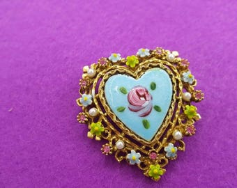 Art Signed Blue  Guilloche  Heart  Brooch Victorian Delicate