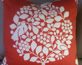 "Tree of Life Thomas Paul Modern Birds Persimmon Throw Pillow Cover Sofa Cushion Botanical Decorative Designer fabric 16"" -  24"" sq."