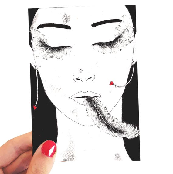 Rape // postcard drawing //small size art // illustration // figurative art // woman // inked drawing // surreal drawing //