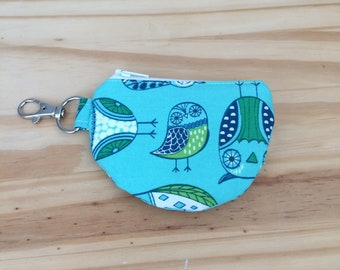 Mini Pouch, Earbud Pouch, Teal Owls, Change Pouch