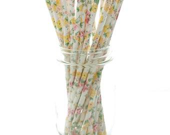 White Flower Straws, Elegant Wedding Straws (25 Pack) - White Floral Straws, Formal Classy Bridal Shower Straws