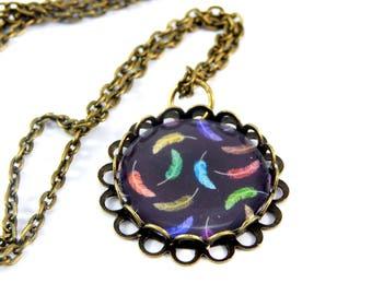 Retro necklace colorful feathers vintage cabochon