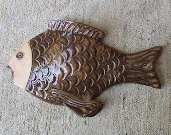Vintage pottery wall art Fish