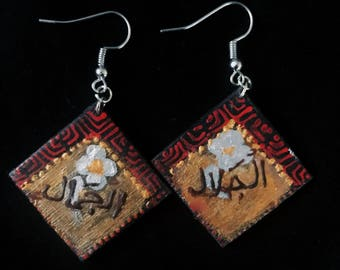 Palestinian anthem handpainted earrings