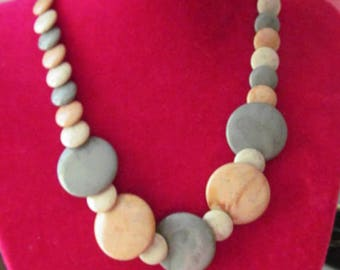 Multi Color Disk Necklace 19 Inch Fashion Jewelry
