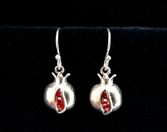 Pomegranate Earrings Granada, Sterling Silver Earrings, Zircon Earrings, Symbol of Abundance, Granada Symbol, Red Earrings, Made in Spain