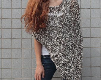 Hand knit little cotton poncho knit scarf knit shrug grey white woman sweater
