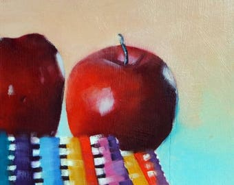 Original small oil painting of red apples, fruit painting
