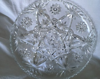 Crystal serving tray with tea set