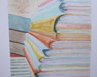 watercolor painting: ' to work! the big stack of books