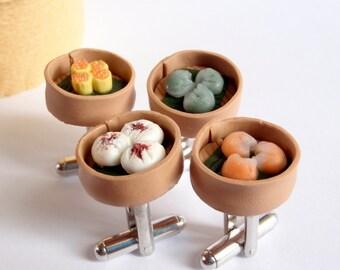 Chinese Dim Sum Cufflinks - Yum Cha Cufflinks - Miniature Food Jewelry Collectable - Schickie Mickie Original 100% Hand