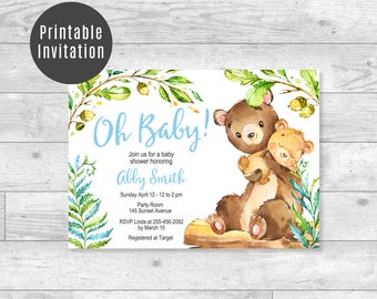 Oh Baby! Woodland Baby Shower Invitation Mom & Baby Bear Ferns Gender Neutral Boys or Girls Blue Green Baby Shower Printable Invite - ID02
