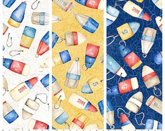 Boat Buoy Fabric - Nautical/Ocean/Summer/Shore Themed - Quilting Cotton [[by the half yard]]