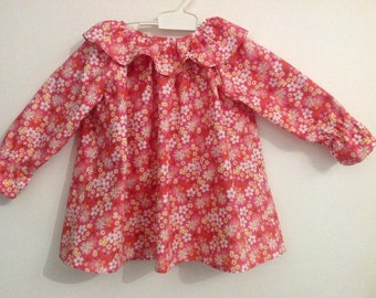 Pretty flowers sparkle salmon blouse