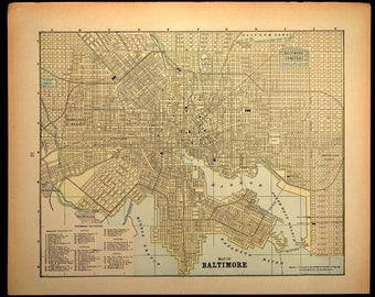 Baltimore Map Baltimore Street Map Maryland Late 1800s