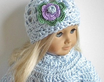 18 Inch Doll Clothes - Crocheted Poncho Set with Flowered Hat Handmade to Fit the American Girl Doll - You Choose color Tan Blue Pink Cream