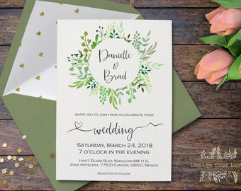 greenery wedding invitation printable green wreath invitation template elegant wedding garden floral green wedding invitations printable diy