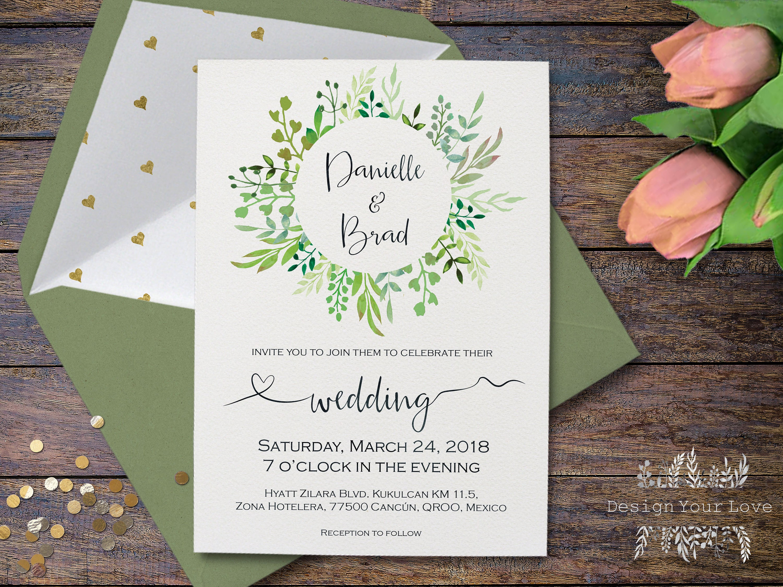 Greenery Wedding Invitation Printable Green Wreath Invitation - Wedding invitation templates: mexican wedding invitations templates