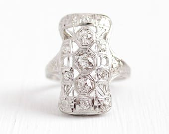 Sale - Diamond Shield Ring - Vintage 18K White Gold .54 CTW Filigree Dinner Ring - Size 4 3/4 Antique Art Deco 1930s Engraved Flower Jewelry