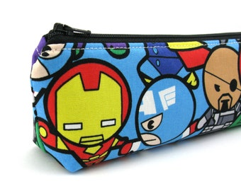 Blue Marvel Avengers Pencil Case - Pencil Pouch - Zip Pouch - Small Bag - Zipper Pouch - Planner Pencil Case Organiser