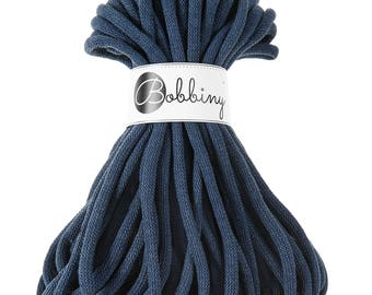 9mm Cotton Cord 22 yards (20 meters) - Denim; giant macrame cord, chunky yarn, cotton rope, macrame string