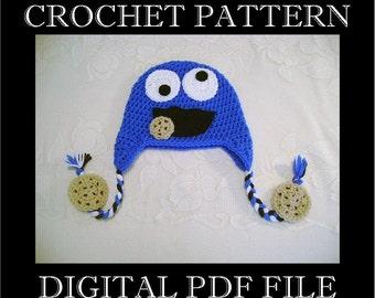 PDF PATTERN - Cookie Monster Inspired Crochet Hat Pattern