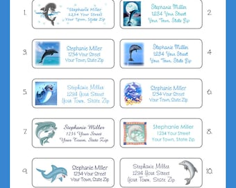 DOLPHIN Personalized Return ADDRESS Labels, Sets of 30, Your Choice of Design