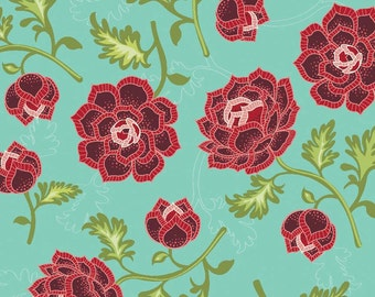 La Vie Boheme, Riley Blake C4740 Teal, The Quilted Fish, Aqua & Red Bohemian Style Fabric,  Teal Quilt Fabric,  Cotton Boho Fabric
