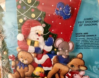 "Vintage rareJUMBO 28"" Bucilla vintage beautiful Christmas stocking kit Santa and Stuffed Animals retired pattern 1993  # 83017"